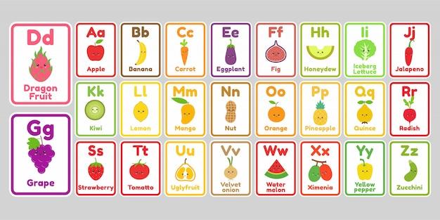 Niedlicher kawaii obst- und gemüse alphabetbuchstabe für kinder