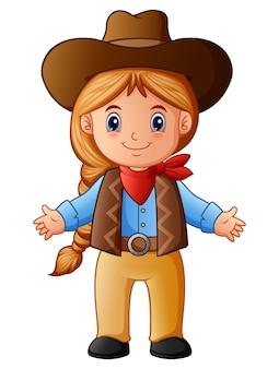 Niedlicher kleiner cowgirl cartoon