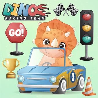 Niedlicher kleiner dinosaurier mit rennwagen-illustrationsset