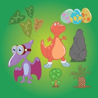 Niedlicher kleiner dinosaurus-vektorsatz