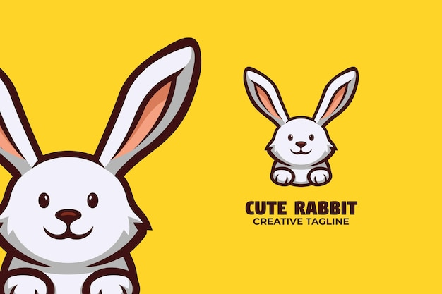 Niedlicher kleiner hase-kaninchen-maskottchen-logo-charakter