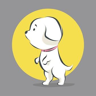 Niedlicher kleiner hund, der karikaturikonenillustration steht und geht
