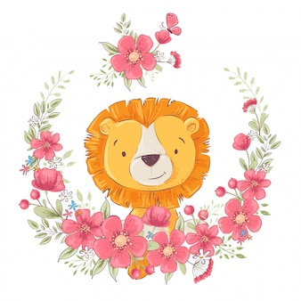 Niedlicher kleiner leon des postkartenplakats in einem kranz von blumen.