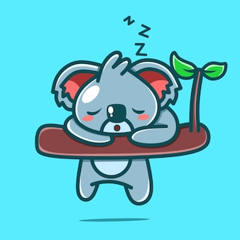 Niedlicher koala-charakter, der kawaii-designs schläft