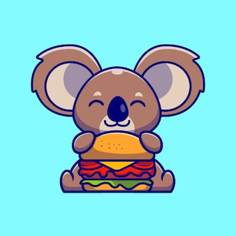 Niedlicher koala, der burger-cartoon-illustration isst