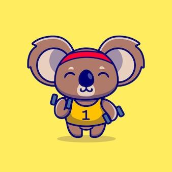 Niedlicher koala, der hantel-karikatur hebt