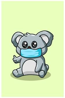 Niedlicher koala, der maske kawaii karikaturillustration trägt