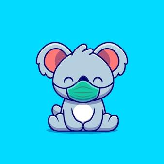 Niedlicher koala, der masken-karikatur trägt. tiergesundes symbolkonzept isoliert. flacher cartoon-stil