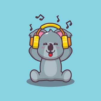 Niedlicher koala, der musik mit kopfhörerkarikaturvektorillustration hört