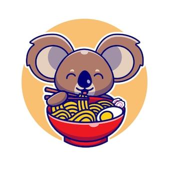 Niedlicher koala, der ramen-nudel mit essstäbchen-karikatur-illustration isst