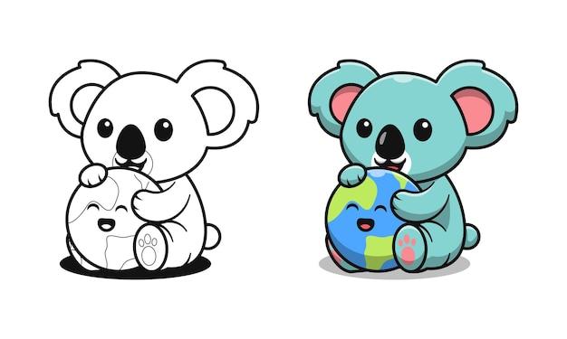 Niedlicher koala mit erde cartoon malvorlagen für kinder