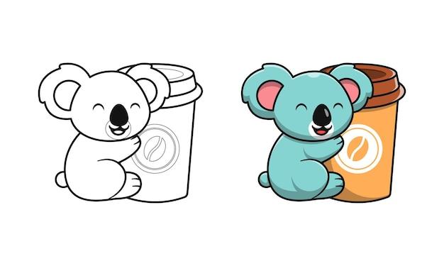 Niedlicher koala mit kaffee-cartoon-malvorlagen für kinder