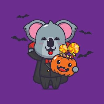 Niedlicher koala vampir halloween niedliche halloween-karikatur-vektorillustration