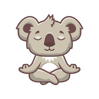 Niedlicher koala yoga-maskottchen-entwurf