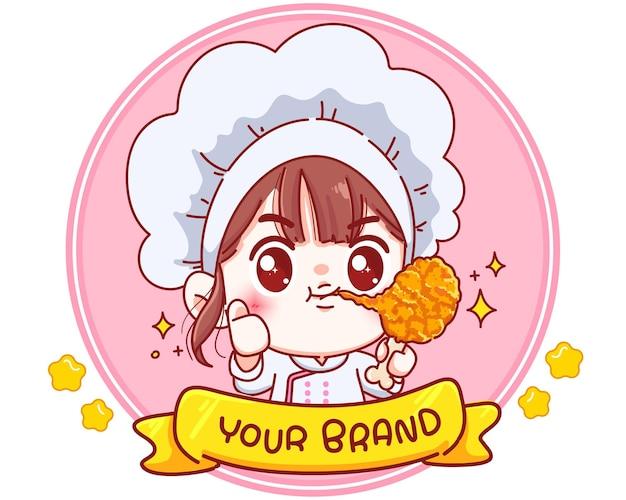 Niedlicher koch, der gebratene hühnertrommelstock-logo-karikaturcharakterillustration hält