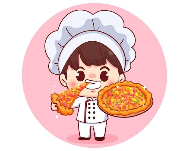 Niedlicher koch und pizzaillustrationskarikaturcharakterillustration