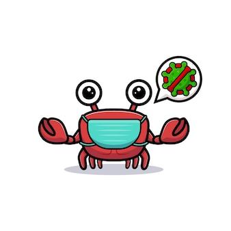 Niedlicher krabbencharakter, der maske trägt, um virus zu verhindern