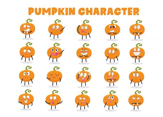 Niedlicher kürbis-halloween-charakter in den verschiedenen ausdrücken