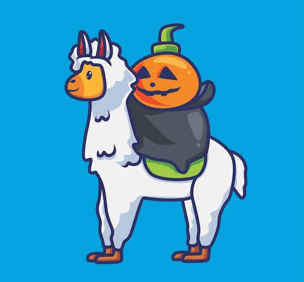 Niedlicher kürbis reitet das alpaka. isolierte cartoon-tier-halloween-illustration. flacher stil geeignet für sticker icon design premium logo vektor. maskottchen-charakter