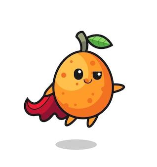 Niedlicher kumquat-superhelden-charakter fliegt, süßes stildesign für t-shirt, aufkleber, logo-element
