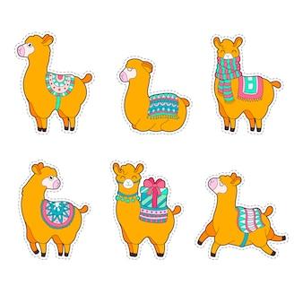 Niedlicher lama- und alpakaaufkleber. lustige lamapatches.