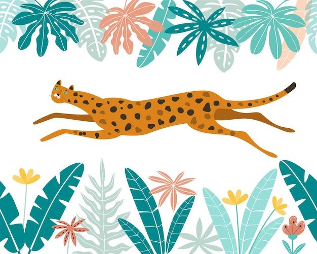 Niedlicher leopard mit tropischen blättern leopard läuft wildkatzen im dschungel