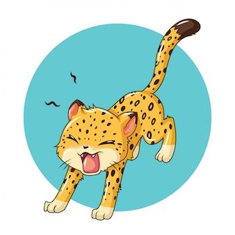 Niedlicher leopardkarikatur animail., tierkarikaturkonzept.