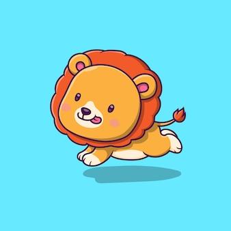 Niedlicher löwe, der karikaturillustration läuft