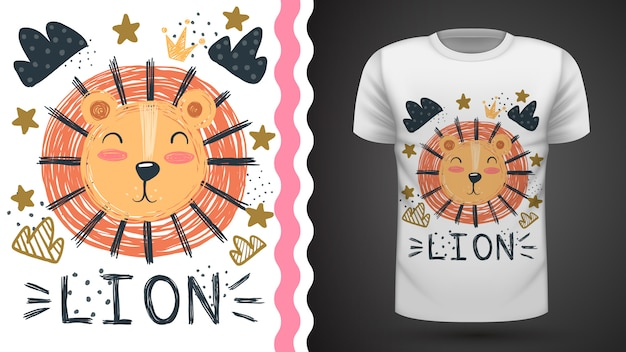 Niedlicher löwe - idee für druckt-shirt