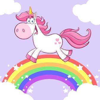 Niedlicher magischer einhorn-karikatur-maskottchen-charakter, der um regenbogen mit wolken läuft