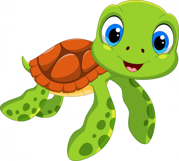 Niedlicher meeresschildkröte-cartoon