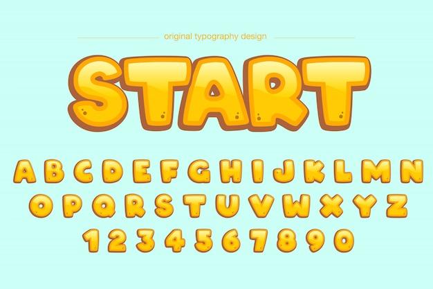 Niedlicher mutiger gelber komischer typografieentwurf
