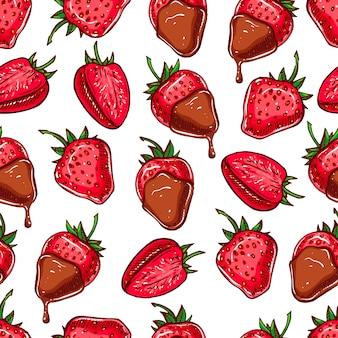 Niedlicher nahtloser hintergrund mit erdbeeren und schokolade