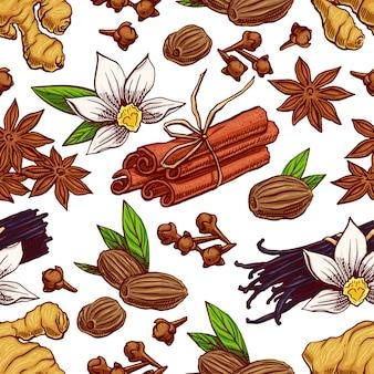 Niedlicher nahtloser hintergrund mit verschiedenen handgezeichneten gewürzen. vanille, sternanis, ingwer