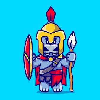 Niedlicher nilpferd gladiator spartanisch mit schild und speer