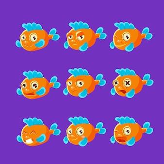 Niedlicher orangefarbener aquarienfisch-cartoon-zeichensatz verschiedener gesichtsausdrücke und -gefühle