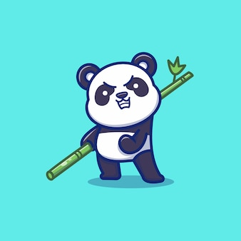 Niedlicher panda angry holding bambus cartoon vektor icon illustration. tierikonen-konzept-isolierter premium-vektor. flacher cartoon-stil