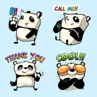 Niedlicher panda-aufkleber, panda-patches