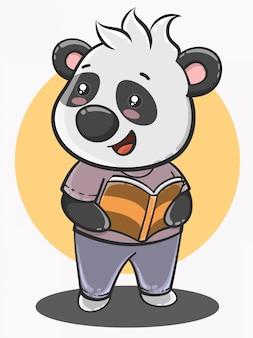 Niedlicher panda-cartoon zurück zur schule