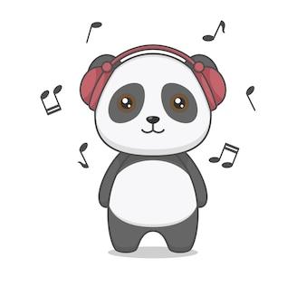 Niedlicher panda charakter trägt kopfhörer, der die musik hört