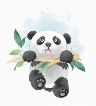Niedlicher panda, der an der baumastillustration hängt
