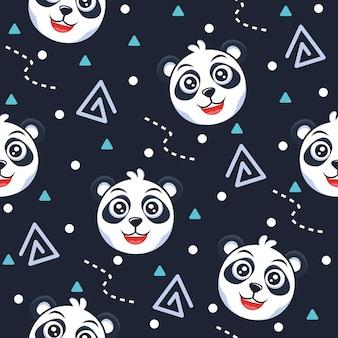 Niedlicher panda mit punktmuster-illustrationen