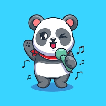 Niedlicher panda singt cartoon-design