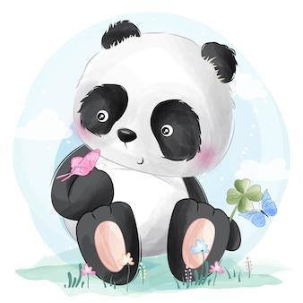 Niedlicher panda und schmetterlinge