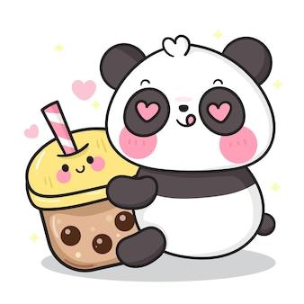 Niedlicher pandabärkarikatur, der kaffee trinkt