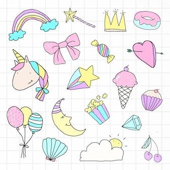 Niedlicher pastell-doodle-aufkleber mit weißem rand-set