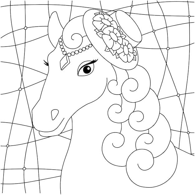 Niedlicher pferdekopf nutztier malbuchseite für kinder