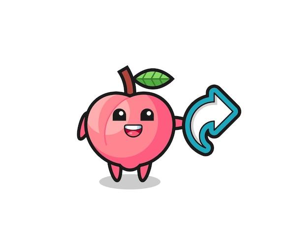 Niedlicher pfirsich hält social media-share-symbol, niedliches design für t-shirt, aufkleber, logo-element