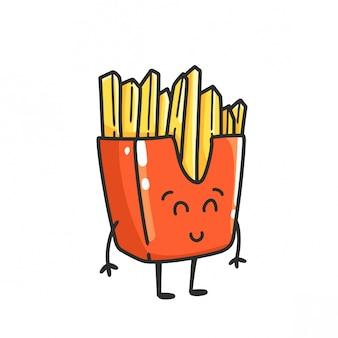 Niedlicher pommes-fritemaskottchen-cartoon