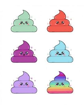 Niedlicher poopcharakter in japan-kawaii art. die niedlichen poo emoji aufkleber stellten lokalisiert ein